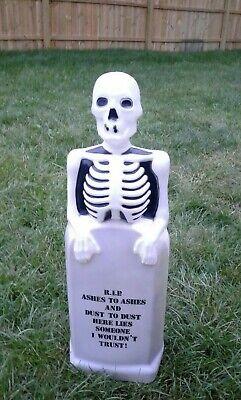 "VTG SKELETON on TOMBSTONE BLOW MOLD RIP Halloween EMPIRE 35"""