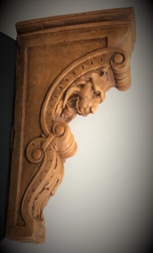 PAIR NARROW LION FACE SCROLL CORBEL BRACKETS ARCHITECTURAL ACCENT WOOD STAINED