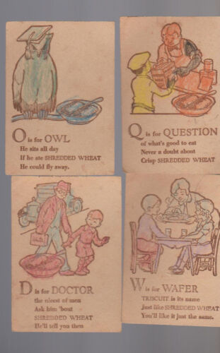 Shredded Wheat Alphabet Cards 1930s Lot of 10