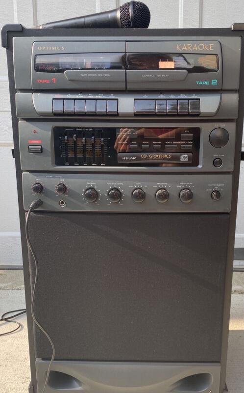 Vintage Optimus Dual Cassette Plus CD Karaoke Machine - READ DESCRIPTION