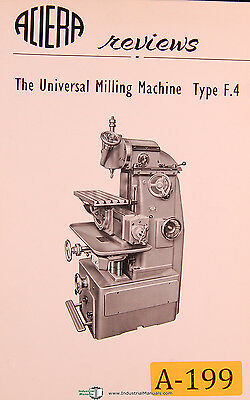 Aciera Type F4 Universal Milling Machine Facts Features Manual