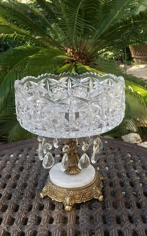 HOLLYWOOD REGENCY  Crystal Bowl~Prisms Marble Pedestal Compote