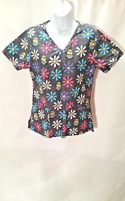 Illumination Entertainment Women's Minion Floral Medical Scrub Top Size XSMALL ](Minion Scrub Top)