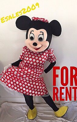 Minnie Mouse Costumes For Adults (Minnie Mouse Red Mascot Costume Adult Sz FOR RENT Birthday Party Girls)