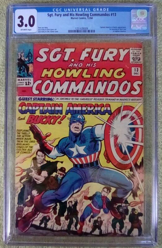 """Sgt. Fury #13 (Marvel, 12/64) CGC 3.0 GD/VG (Captain America & Bucky) """"KEY"""""""