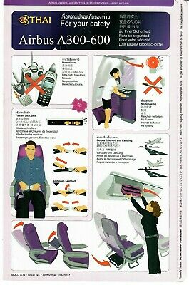 Thai A300 safety card - Issue No 7 / Effective 10 APR 07, usado comprar usado  Enviando para Brazil