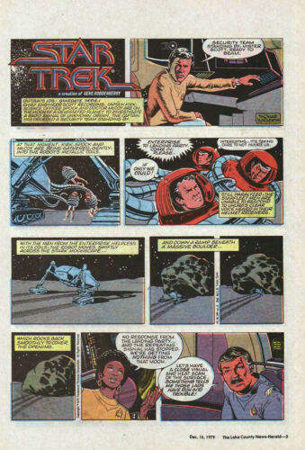 Star Trek #3 - Kirk & Spock - full page color Sunday comic - December 16, 1979