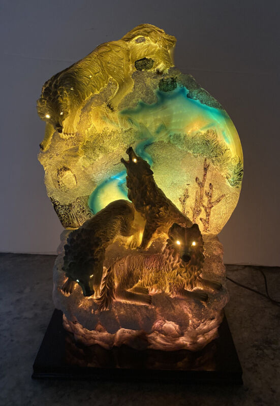 Rare Wolves Howl Moon Spirit Fiber Optic Figurine Night Light Statue 13""
