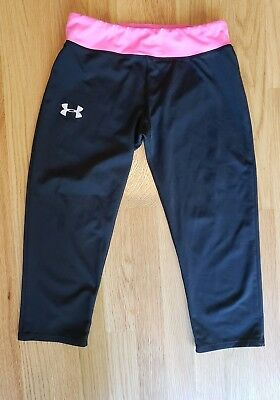 Youth Under Armour Heat Gear Capri Yoga Pants. Hot Pink and Black. Girls. Large