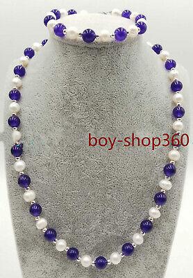New 7-8mm White Freshwater Pearl&Multicolor Gemstone Necklace Bracelet Jewel Set 8mm White Pearl Necklace Bracelet
