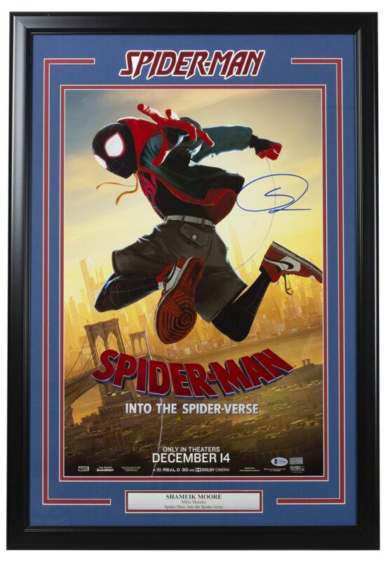 Shameik Moore Signed Framed 18x24 Spider Man Into The Spider Verse Poster BAS