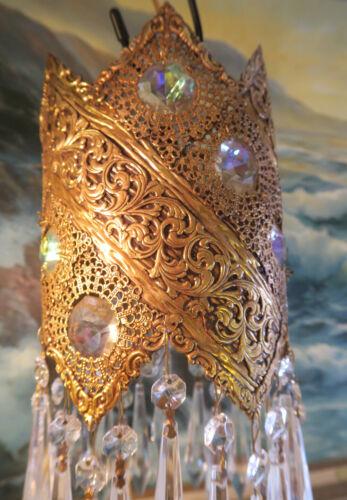 Crystal SWAG AB Lamp Vintage Chandelier Tole brass Jeweled Filigree Hollywood
