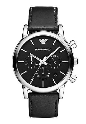 NEW EMPORIO ARMANI AR1733 MENS LEATHER CHRONOGRAPH WATCH - 2 YEAR WARRANTY