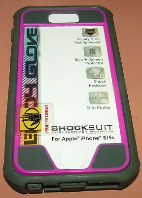 Body Glove Shocksuit for iPhone 5/5s/SE, Gray/Burgundy w screen protector, -