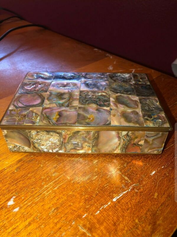 Gorgeous Abalone and Alpaca Box - Wood Lined - Great Condition!