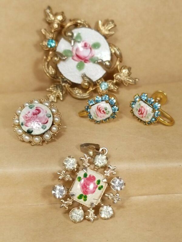 Vintage GUILLOCHE ENAMEL Roses Brooch-Pendant-Earrings- Lot