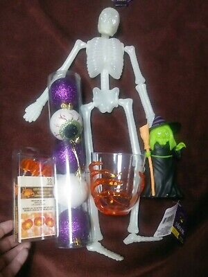Halloween Lot Great Set of New Decorations Skeleton Witch Eyeballs Lights more!