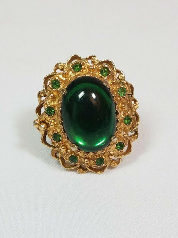 Vintage Brutalist Art Deco Green Glass Perfume Cocktail Ring Adjustable