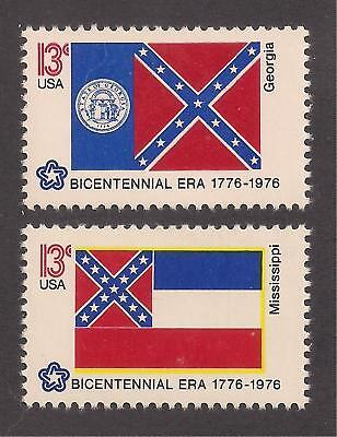 GEORGIA & MISSISSIPPI STATE FLAG - SET OF 2 U.S. STAMPS - MINT CONDITION