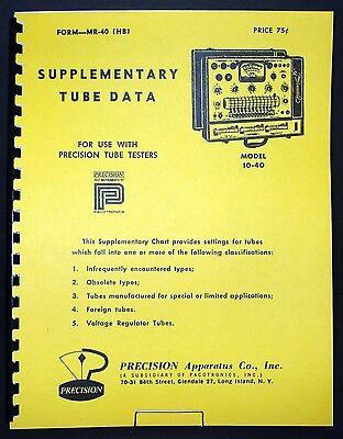 Precision Supplementary Tube Test Data For 10-40 Tube Testers