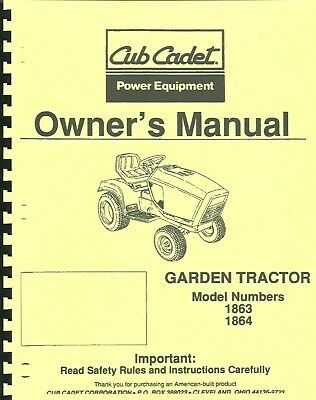 Cub Cadet 18631864 Garden Tractor Owners Manual