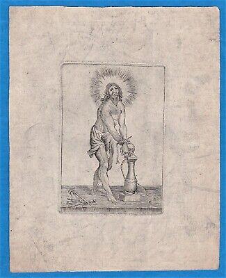vintage original chained Jesus Christ Christus engraving Kupferstich ca 1700