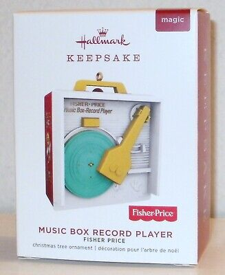 2019 Hallmark Ornament Fisher Price Music Box Record Player Plays Three Tunes