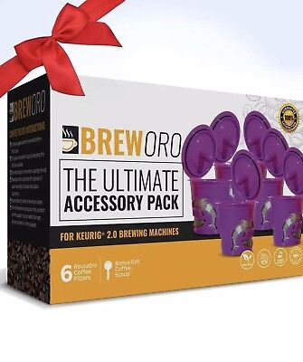 (New 6 Reusable K-Cups by Breworo - Refillable K Cup Coffee Filters for Keurig)