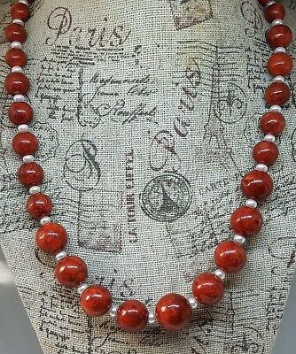 Sponge Coral Pearl Gratuated Bead Necklace Sterling Silver Closure  White Sponge Coral