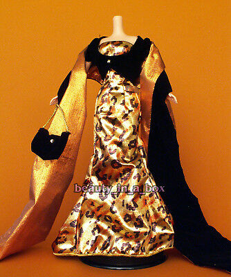 Barbie Strapless Gown - Strapless Gown Leopard Print Lame Stole Purse Shoes Fashion for Barbie Doll