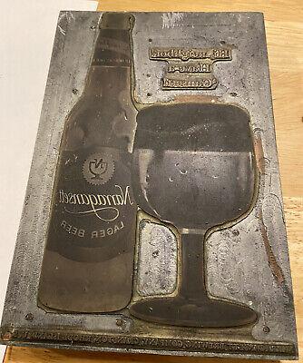 Large Vintage Printing Letterpress Printers Block Narragansett Beer Advertising