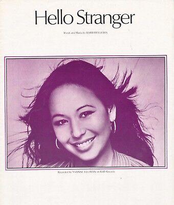 "YVONNE ELLIMAN ""HELLO STRANGER"" SHEET MUSIC-1973-EXTREMELY RARE- ON SALE-VINTAGE"