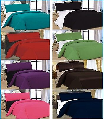4PC COMPLETE REVERSIBLE BEDDING DUVET QUILT COVER & FITTED SHEET  2 TONE BED SET