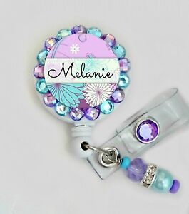 CUSTOM NAME RETRACTABLE ID REEL BLING BADGE HOLDER with charm NURSE