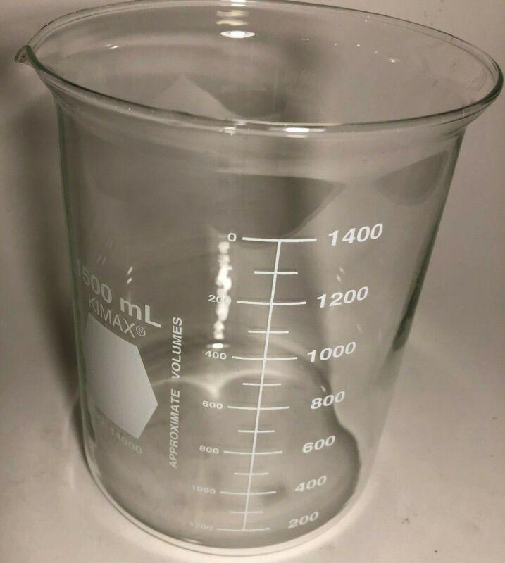 1 CASE (4PCS) KIMAX 1500ML Beaker Low Form Glass 14000-1500 NEW