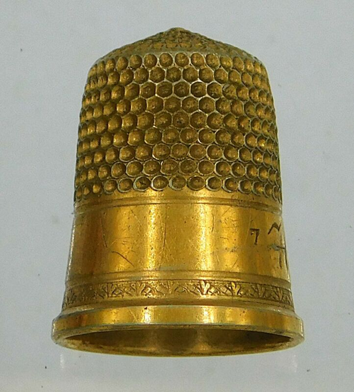 Antique gold filled thimble size 7 Hannah Smith suffragette ? lot w444