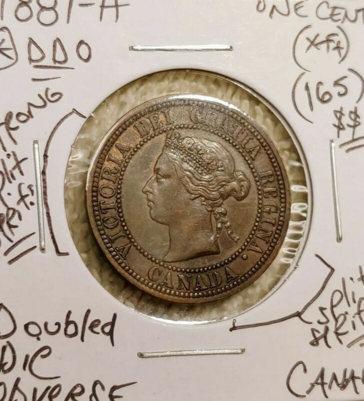 1881-H Canada Large Cent *Strong Doubled Die Obverse VF+ *Major Series Variety