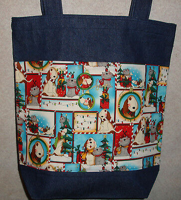 NEW Handmade Large Christmas Holiday Cute Whimsical Dogs Cats Denim Tote Bag (Cute Large Dogs)
