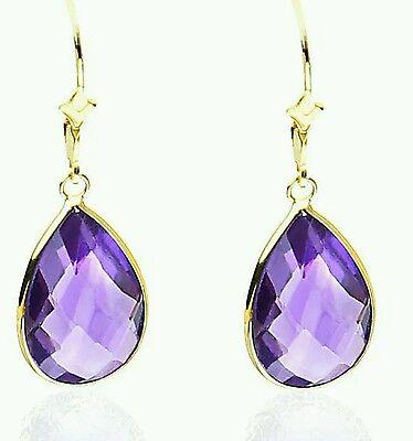 14K Yellow Gold Handmade Gemstone Earrings With Genuine Pear Shaped Amethyst  14k Amethyst Gemstone
