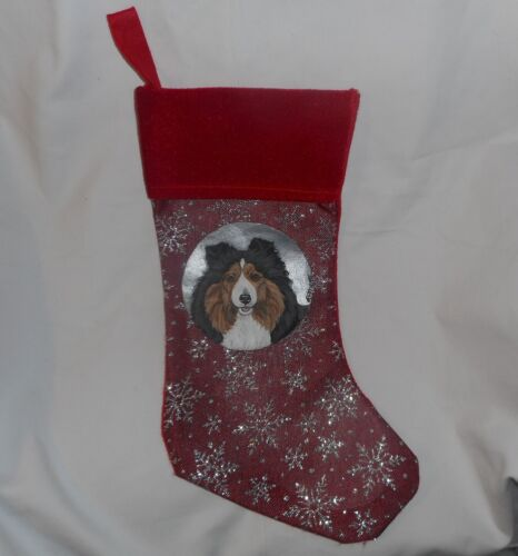 Shetland Sheepdog Sheltie Dog Hand Painted Christmas Gift Stocking Decoration
