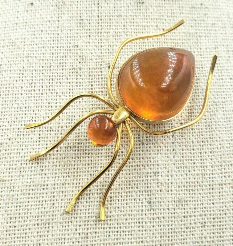 Vintage Soviet Russia Amber 8 Karat Gold Spider Bug Insect Pin Brooch