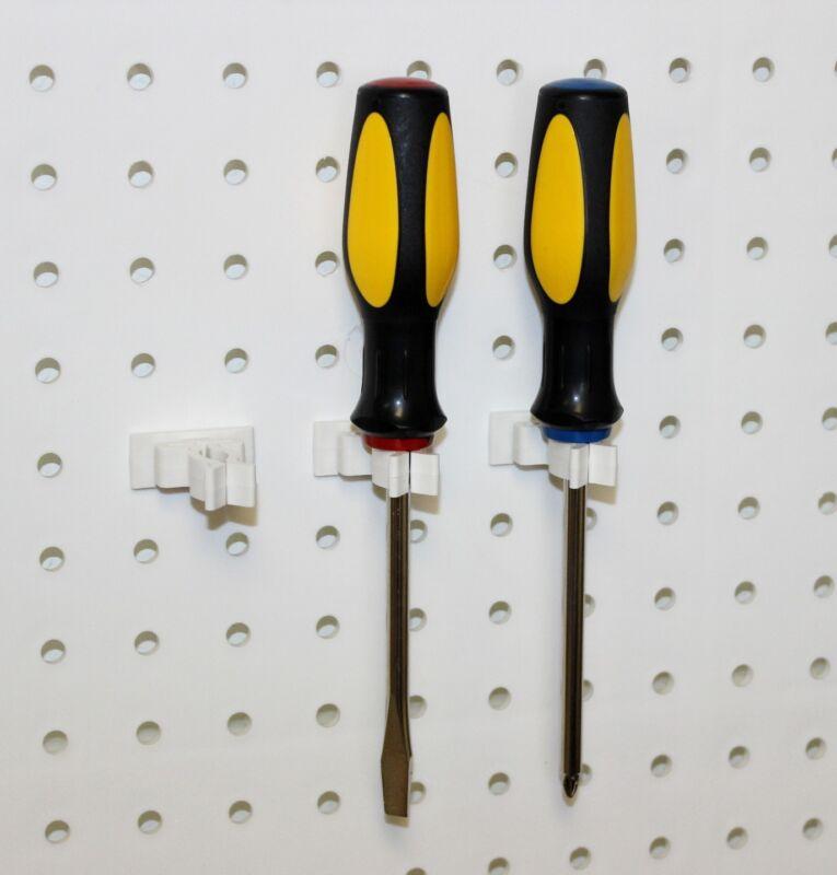 WallPeg Garage Tool Organizer - 50 White Spring Style Pegboard Peg Hooks SPR50WH