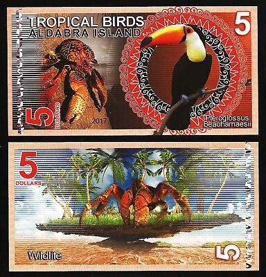 Aldabra Island 5 Dollars 2017 Unc   Tropical Birds