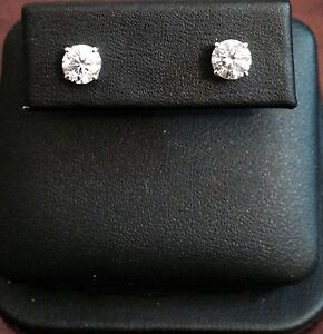 14K WHITE GOLD DIAMOND STUD EARRINGS *SEE AVAILABLE CARAT SIZES