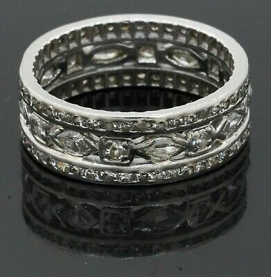 Antique Platinum 1.84CT VS diamond 3-row eternity band ring size 6