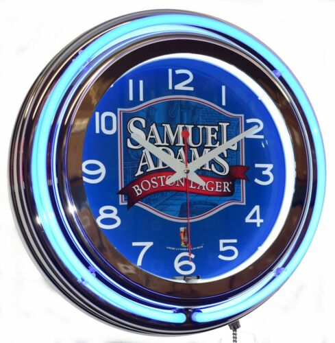 "Samuel Adams Boston Lager 15"" Blue Double Beer Neon Advertising Clock"