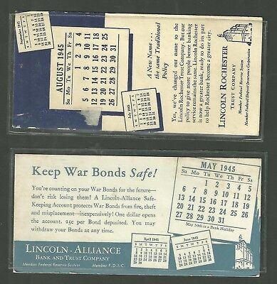 2 1945 Ink Blotters Lincoln Alliance Bank   Trust Co  Lincoln Rochester