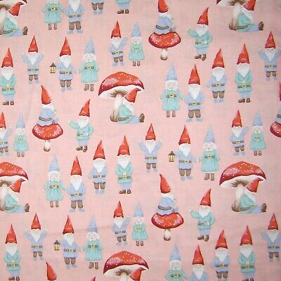 Garden Fabric - Gnome Sweet Gnome Scene Dusty Pink - Alexander Henry YARD](Yard Gnome Costume)