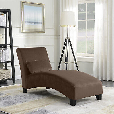 Chaise Lounge Living Room Chair Contemporary Sofa Couch Hardwood Legs, Brown