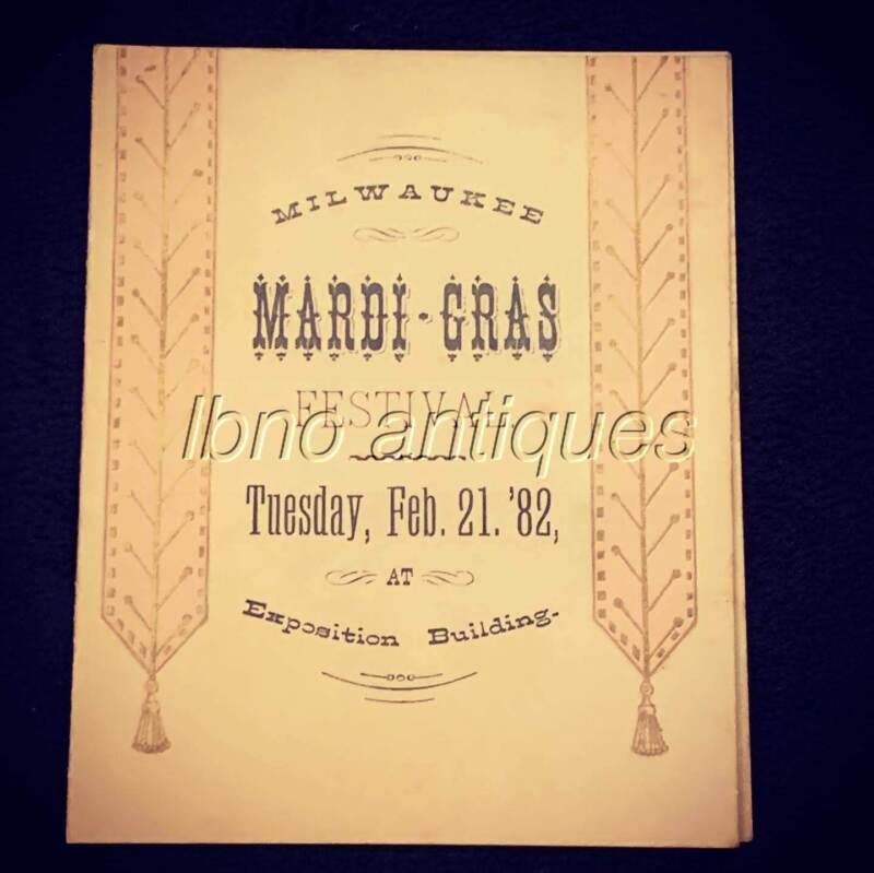 RARE AND ORIGINAL 1882 MARDI GRAS BALL PROGRAM MILWAUKEE EXPOSITION BUILDING. NR